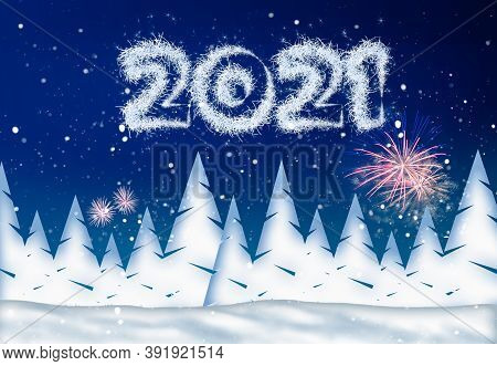 New Year's Eve Illustration With Year 2021 And Fireworks On A Wintery Background