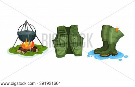 Rubber Pair Of Boots And Campfire Vector Set