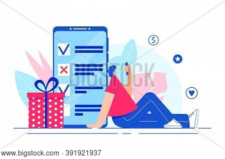Online Survey Concept. Girl Going Through The Survey On The Smartphone Screen.
