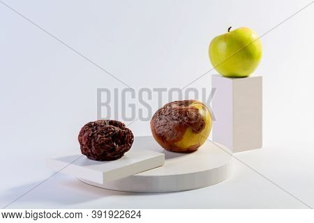 Fresh And Rotting Apples On An Abstract Background With Rectangular White Podiums. Concept And Aging