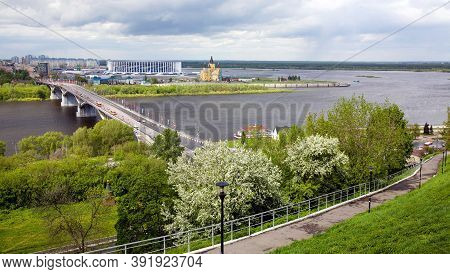 Nizhny Novgorod Before A Storm In Blooming Spring Trees