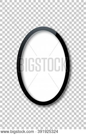 Black Vertical Oval Frame Template With Empty White Copy Space Inside Isolated On Transparent Backgr