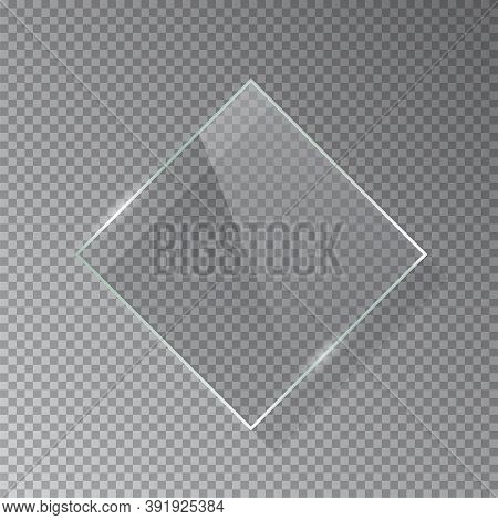 Realistic 3d Horizontal Rectangular Glass Frame Isolated On Grey Transparent Background. Creative Bo