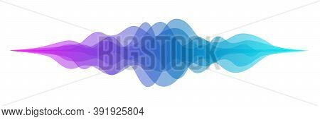 Abstract Audio Sound Wave Background. Blue And Purple Voice Or Music Signal Waveform Vector Illustra