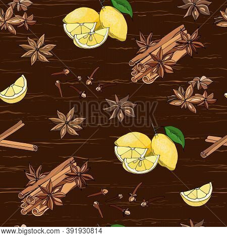 Spices For Tea And Coffee On A Brown Background. Seamless Pattern With Cinnamon, Anise And Lemons. V