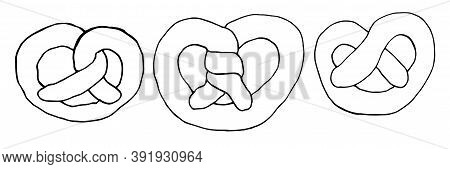 A Set Of Pretzels In The Style Of Doodles. Hand-drawn Sketch Style. Isolated Vector Illustration Of
