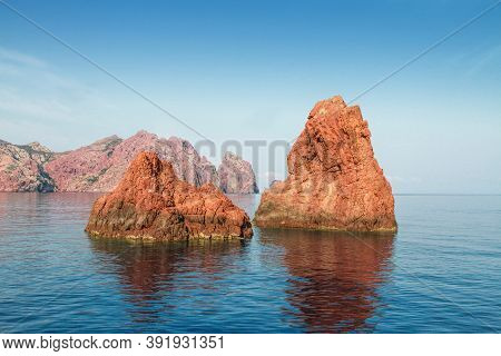 Rocks Of Scandola Nature Reserve, Unesco World Heritage Site, Corsica, France