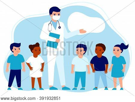 Doctor Pediatrician And Children. Presentation, Lesson About Immune System Health. Knowledge Health