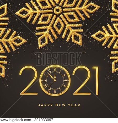 Happy New 2021 Year. Gold Metallic Numbers 2021 And Watch With Countdown Midnight, Eve For New Year.
