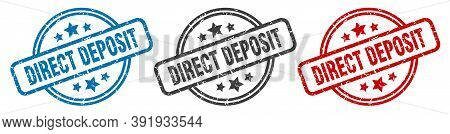 Direct Deposit Stamp. Direct Deposit Round Isolated Sign. Direct Deposit Label Set