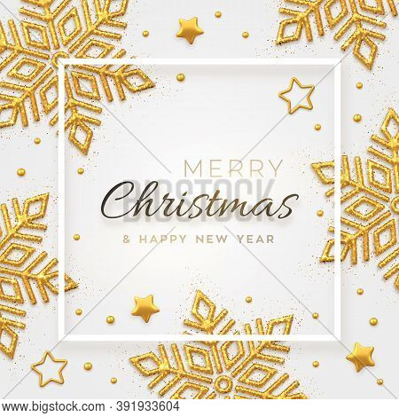 Christmas Background With Shining Golden Snowflakes, Gold Stars And Beads. Merry Christmas Greeting