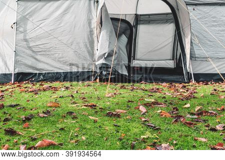 A Tent Pitched In Wet Autumn Weather Outdoors For A Staycation Camping Trip
