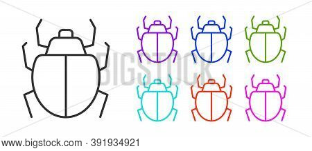 Black Line Mite Icon Isolated On White Background. Set Icons Colorful. Vector