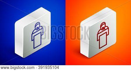 Isometric Line Gives Lecture Icon Isolated On Blue And Orange Background. Stand Near Podium. Speak I