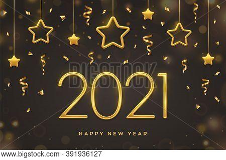 Happy New 2021 Year. Golden Metallic Numbers 2021 With Shimmering Hanging Golden Stars On Dark Backg