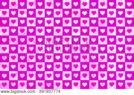 Red White Pink Checkered Background With Hearts. Checkered Texture. Space For Graphic Design And Cre