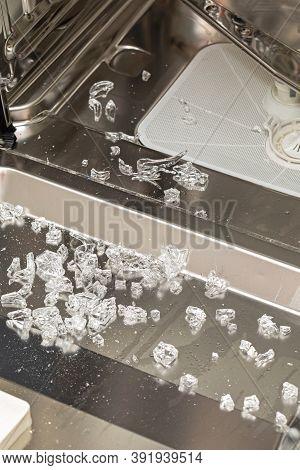 Broken Glass Pieces Shards In Dishwasher Machine Damage