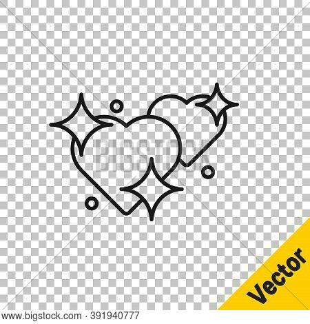 Black Line Two Linked Hearts Icon Isolated On Transparent Background. Romantic Symbol Linked, Join,
