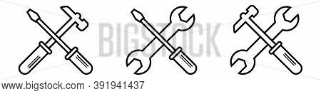 Outline Repair Service Toolkit. Maintenance Spanner And Hammer Silhouette Icons. Isolated Wrench And