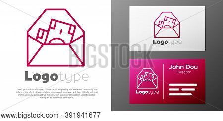 Logotype Line Envelope With Coin Dollar Symbol Icon Isolated On White Background. Salary Increase, M