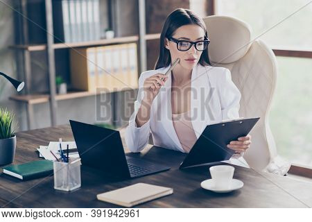 Portrait Of Her She Pretty Smart Clever Classy Focused Busy Lady Skilled Specialist Inspector Hr Eco