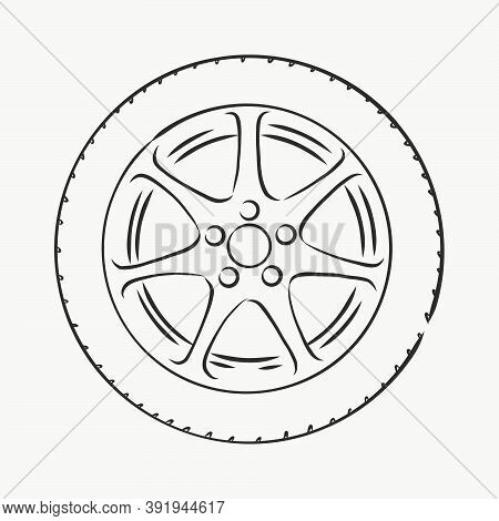 Car Wheel Vector Sketch Icon Isolated On Background. Hand Drawn Car Wheel, Vector Sketch Illustratio