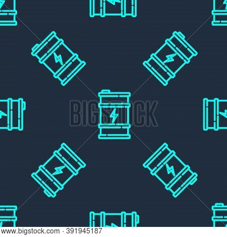 Green Line Bio Fuel Barrel Icon Isolated Seamless Pattern On Blue Background. Eco Bio And Canister.