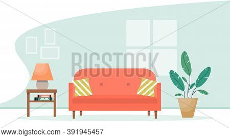 Living Room Interior With Furniture. Modern Sofa With Bedside Table And Plant. Cute Interior Illustr