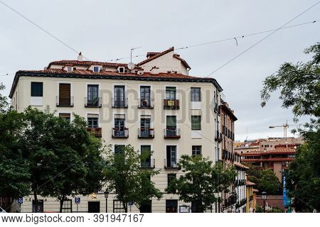 Madrid, Spain - 4th October, 2020: Picturesque View Of Paja Square In Latina Quarter In Central Madr