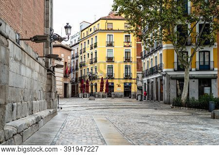 Madrid, Spain - 4th October, 2020: Picturesque View Of Plaza De Los Carros, Square Of The Carros, In