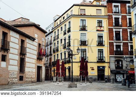 Madrid, Spain - 4th October, 2020: Picturesque View Of Plaza De San Andres, Square Of St. Andrew, In