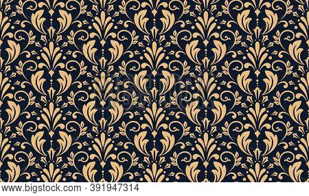 Floral Pattern. Vintage Wallpaper In The Baroque Style. Seamless Vector Background. Gold And Dark Bl