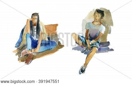 Watercolor Sketches Of People. A Guy And A Girl Sit And Relax