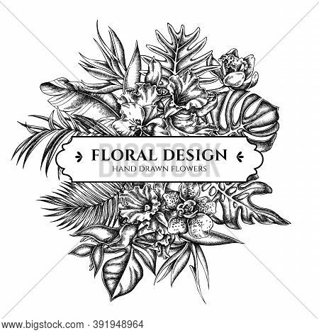 Floral Bouquet Design With Black And White Monstera, Banana Palm Leaves, Strelitzia, Heliconia, Trop
