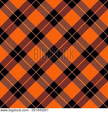 Diagonal Tartan Halloween Plaid. Scottish Pattern In Orange And Black Cage. Scottish Cage. Tradition