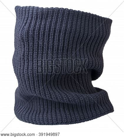 Blue Gray Scarf Wind Mask Isolated On White Background. Wool Scarf .face Scarf
