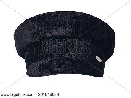 Fashion Black Hat With Visor Isolated On White Background.cap Female. Colored Hat .
