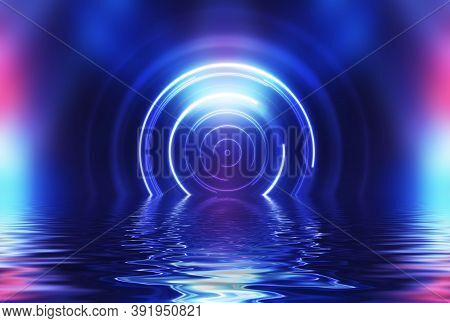 Abstract Dark Futuristic Background. Neon Light Beams, Circle Laser Shape Are Reflected From Water.