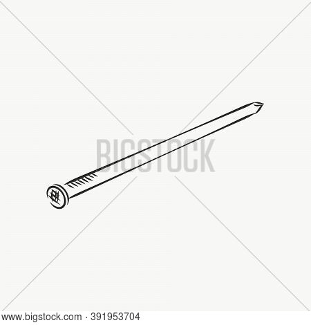 Hand Drawn Nail Heads Vector Sketch. Doodle Drawing. Vector Sketch House Remodel Tool. Nail Vector S