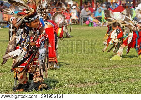 Bismark, North Dakota, September 8, 2018 : Young Dancer Of The 49Th Annual United Tribes Pow Wow, On