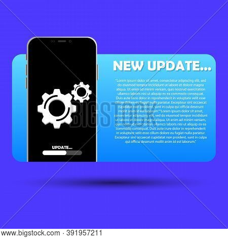 An Illustration Of The System Software Update On The Smartphone, Update The Data Or Synchronize With