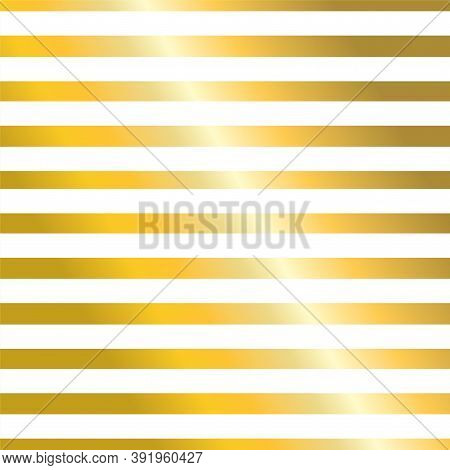 Golden Stripes Isolated On White Luxury Background. Gold Foil Lines Or Bars On White Backdrop. Strip