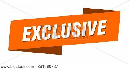 Exclusive Banner Template. Exclusive Ribbon Label Sign