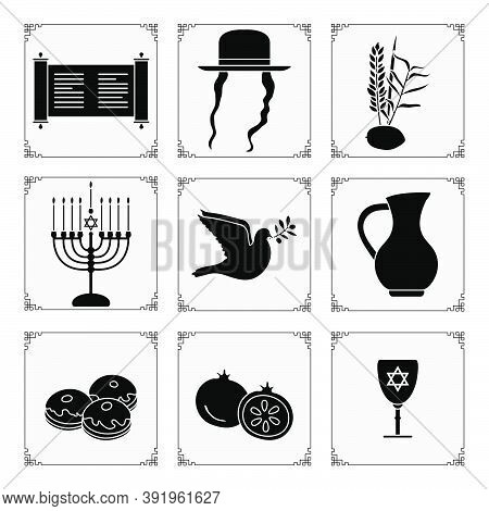 Vector Illustration Jewish Holiday Traditional Symbols Menorah Candles, Torah Scroll, Jug Of Oil, Do