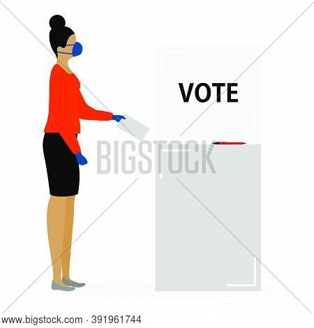 Voting Vector Illustration Election Day People In Protective Medical Mask Vote In Voting Booth. Peop