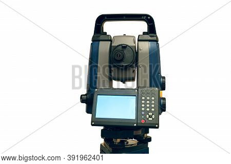 Total Station Isolated On White Background. Electronic Total Station - Modern Geodetic Instrument Fo