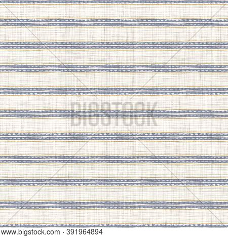 Seamless French Blue Yellow Farmhouse Style Stripes Texture. Woven Linen Cloth Pattern Background. L