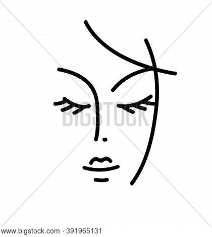 Beautyfull Girl Face. Attractive Young Woman Portrait Female Beauty Concept. Hand Drawing. Black And