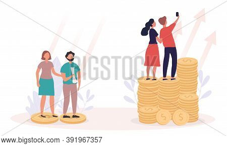 Concept Of Richness And Poverty. Rich And Poor Couples Standing On Dollar Coins. Success And Failure