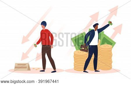 Concept Of Richness And Poverty. Rich Man And Poor Man. Success And Failure. Vector Illustration Iso